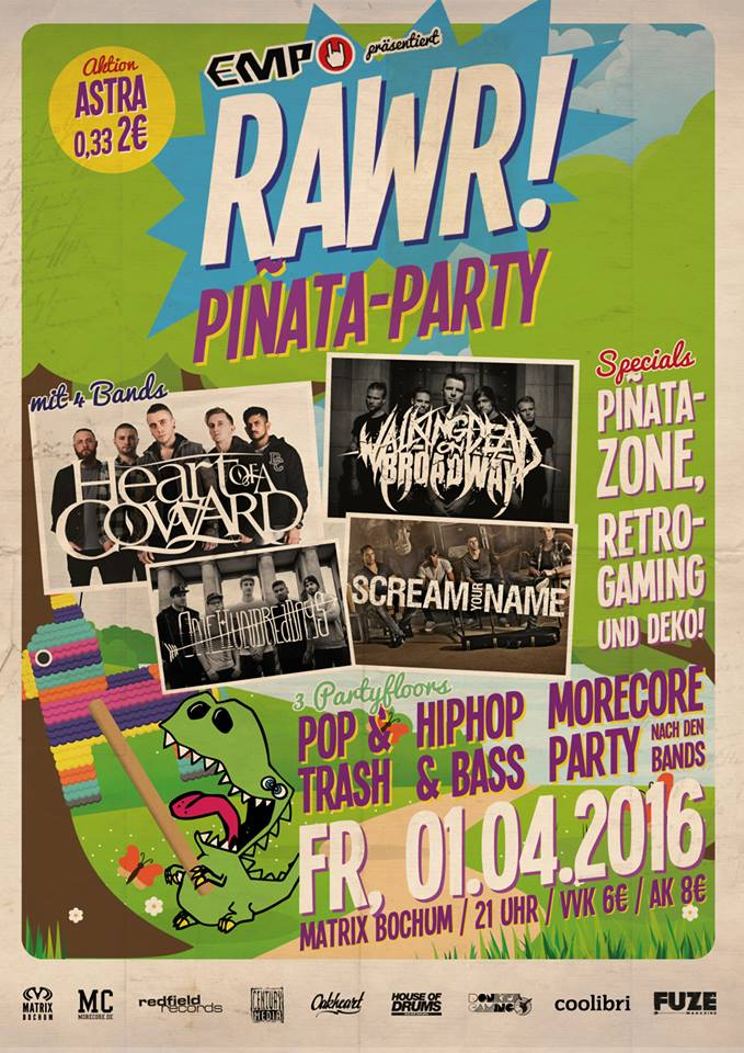 Heute RAWR! mit Heart of a Coward + 3 Supports in Bochum