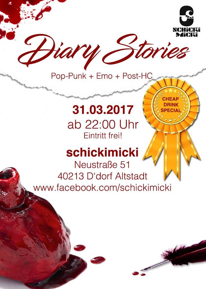 "Neue Partyreihe: ""DIARY STORIES"" (Pop-Punk, Emo, Emocore, Post-HC)"
