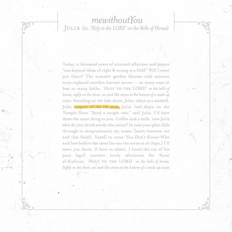 "mewithoutYou veröffentlichen neue Single ""Julia (or, 'Holy to the LORD' on the Bells of Horses)"""