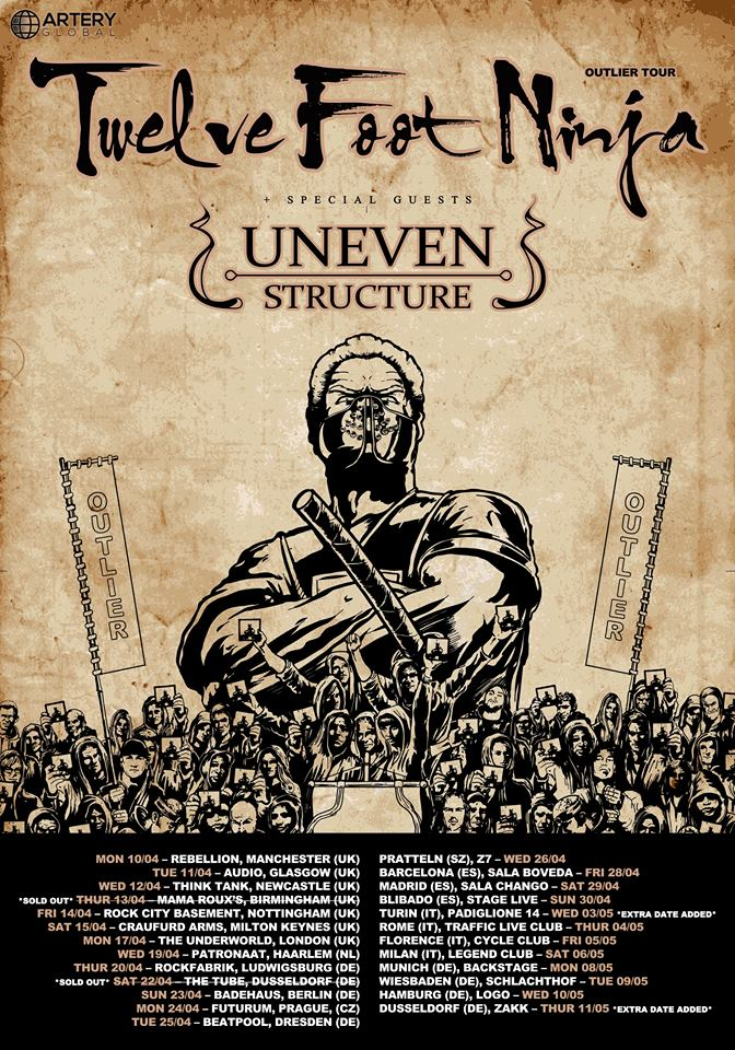 Uneven Structure supporten Twelve Foot Ninja auf ihrer EU-Tour